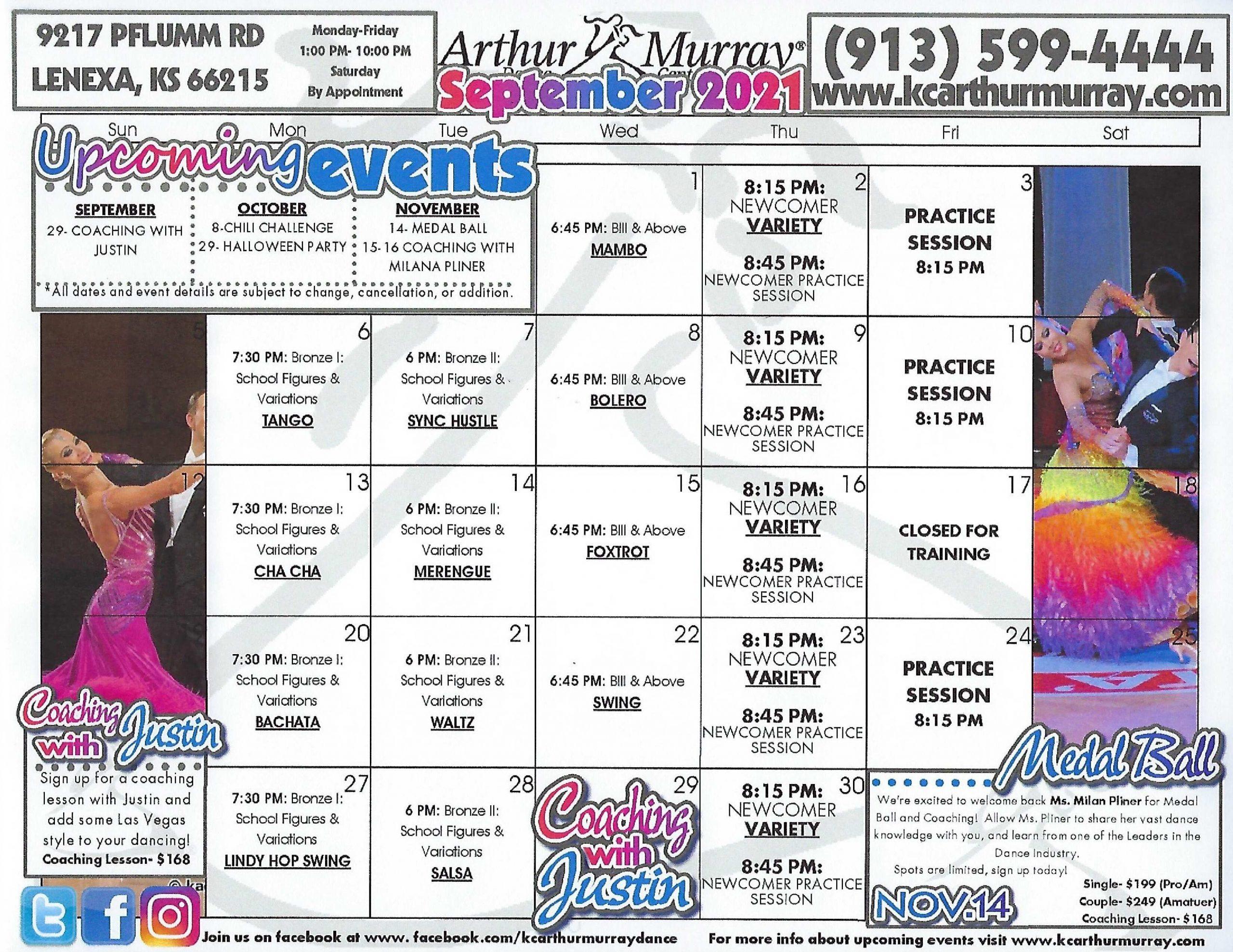 Dance Studio Kansas City September Calendar